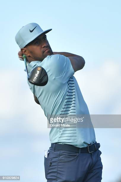 Tony Finau plays his shot from the 18th tee during the first round of the Farmers Insurance Open at Torrey Pines North on January 25 2018 in San...