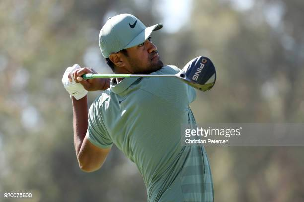 Tony Finau plays his shot from the ninth tee during the final round of the Genesis Open at Riviera Country Club on February 18 2018 in Pacific...