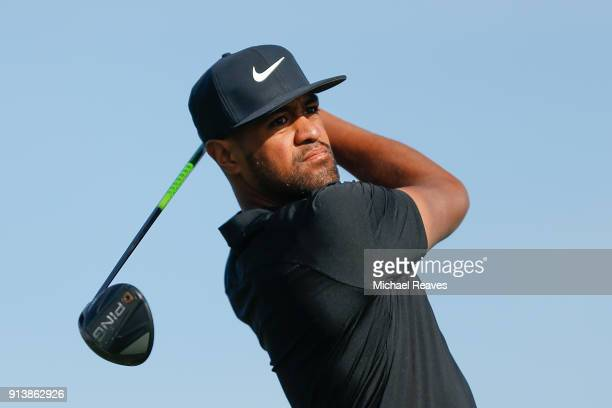 Tony Finau plays his shot from the second tee during the third round of the Farmers Insurance Open at Torrey Pines South on January 27 2018 in San...