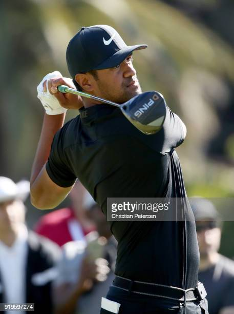 Tony Finau plays his shot from the second tee during the third round of the Genesis Open at Riviera Country Club on February 17 2018 in Pacific...