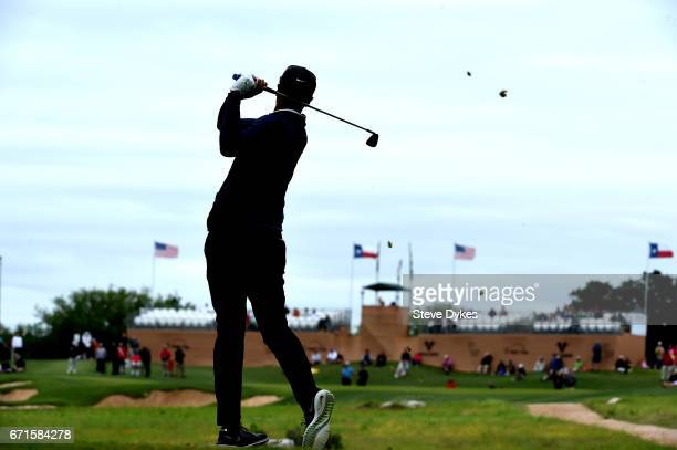 Tony Finau plays his shot from the seventh tee during the third round of the Valero Texas Open at TPC San Antonio ATT Oaks Course on April 22 2017 in...