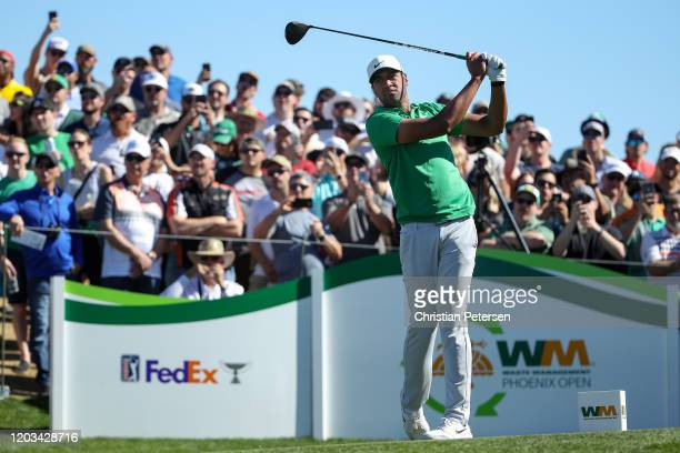 Tony Finau plays his shot from the tenth tee during the third round of the Waste Management Phoenix Open at TPC Scottsdale on February 01, 2020 in...