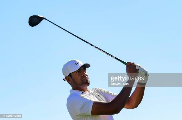 Tony Finau plays his shot from the third tee during the final round of the Waste Management Phoenix Open at TPC Scottsdale on February 02 2020 in...