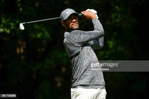 Tony Finau plays his shot from the third tee during the first round of the Valspar Championship at Innisbrook Resort Copperhead Course on March 8...