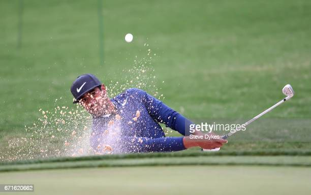 Tony Finau plays his shot out of the bunker during the third round of the Valero Texas Open at TPC San Antonio ATT Oaks Course on April 22 2017 in...