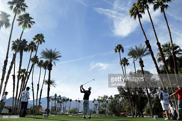 Tony Finau plays his tee shot on the seventh hole during the first round of the CareerBuilder Challenge In Partnership With The Clinton Foundation at...