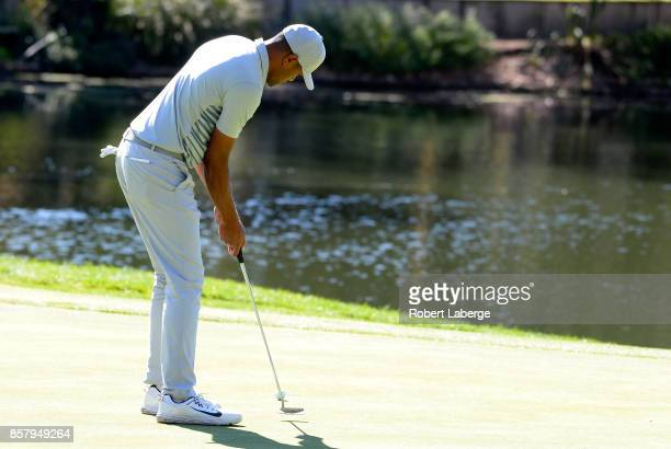 Tony Finau putts on the 11th green during the first round of the Safeway Open at the North Course of the Silverado Resort and Spa on October 5 2017...
