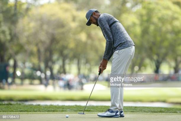Tony Finau putts on the second green during the first round of the Valspar Championship at Innisbrook Resort Copperhead Course on March 8 2018 in...