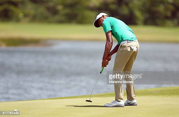Tony Finau putts on the second hole during the final round of the Puerto Rico Open at Coco Beach on March 27 2016 in Rio Grande Puerto Rico