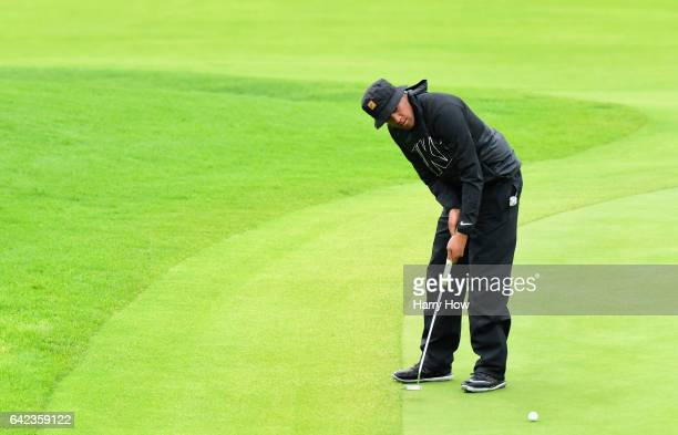 Tony Finau putts on the second hole during the second round at the Genesis Open at Riviera Country Club on February 17 2017 in Pacific Palisades...