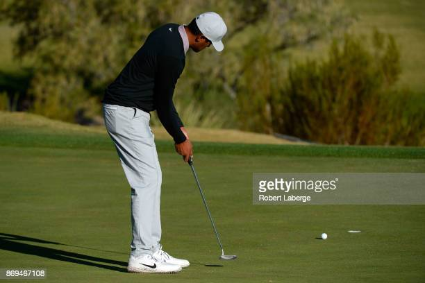 Tony Finau putts on the third green during the first round of the Shriners Hospitals For Children Open at TPC Summerlin on November 2 2017 in Las...