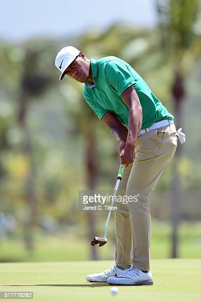 Tony Finau putts on the third hole during the final round of the Puerto Rico Open at Coco Beach on March 27 2016 in Rio Grande Puerto Rico