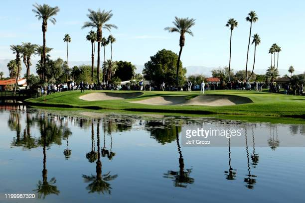 Tony Finau putts on the third hole during the first round of The American Express tournament at La Quinta Country Club on January 16, 2020 in La...