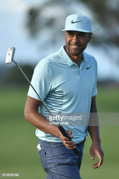 Tony Finau reacts after a birde putt on the ninth hole during the first round of the Farmers Insurance Open at Torrey Pines North on January 25 2018...