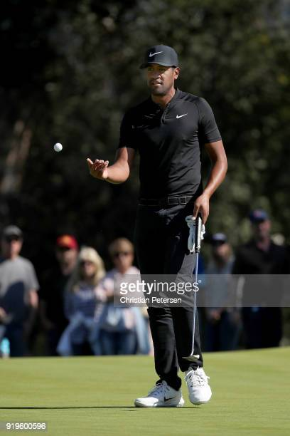 Tony Finau reacts after making par on the first green during the third round of the Genesis Open at Riviera Country Club on February 17 2018 in...