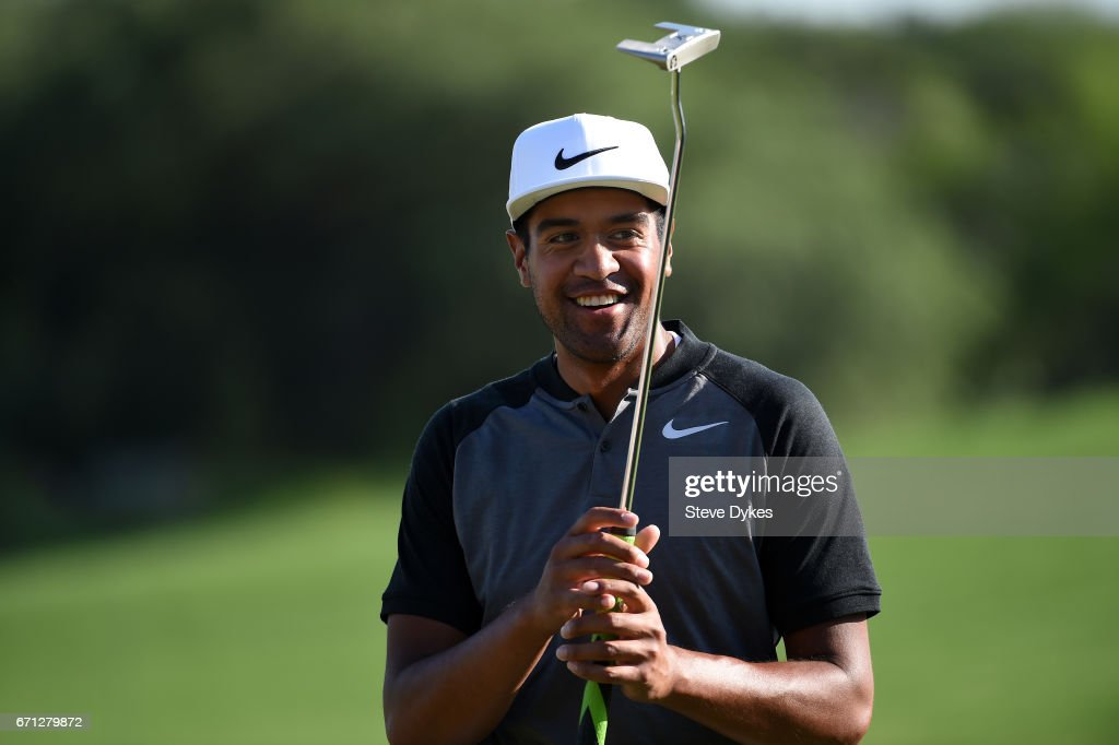 Tony Finau reacts to his biride putt during the second round of the Valero Texas Open at TPC San Antonio AT&T Oaks Course on April 21, 2017 in San Antonio, Texas.