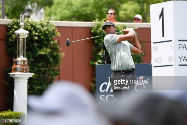 Tony Finau tees off on the first tee box during the final round of the Charles Schwab Challenge at Colonial Country Club on May 26 2019 in Fort Worth...