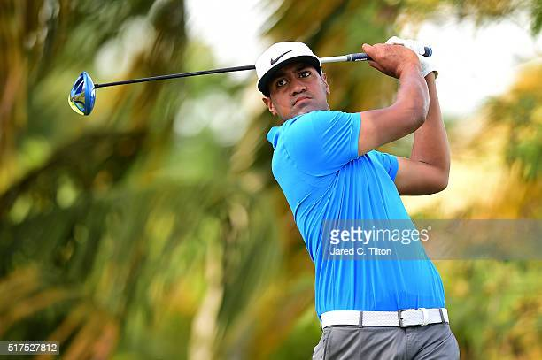 Tony Finau tees off on the fourth hole during the second round of the Puerto Rico Open at Coco Beach on March 25 2016 in Rio Grande Puerto Rico