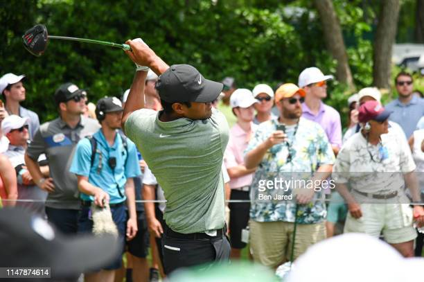 Tony Finau tees off on the sixth tee box during the final round of the Charles Schwab Challenge at Colonial Country Club on May 26 2019 in Fort Worth...