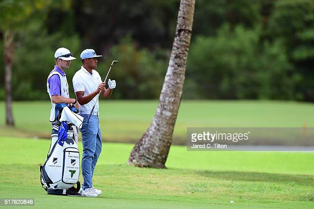 Tony Finau waits to take his shot on the third hole during the third round of the Puerto Rico Open at Coco Beach on March 26 2016 in Rio Grande...