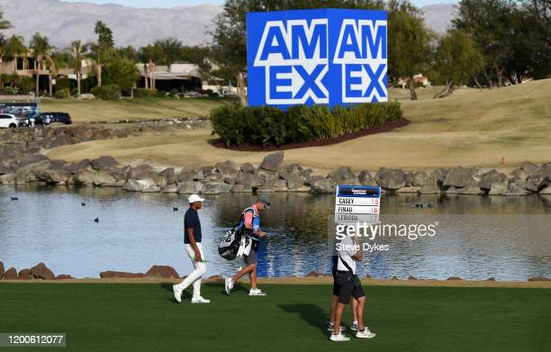 Tony Finau walks along the 18th fairway during the final round of The American Express tournament at the Stadium Course at PGA West on January 19,...