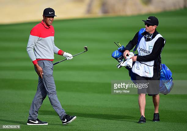Tony Finau walks on the fairway of the 10th hole during the second round of the CareerBuilder Challenge In Partnership With The Clinton Foundation on...