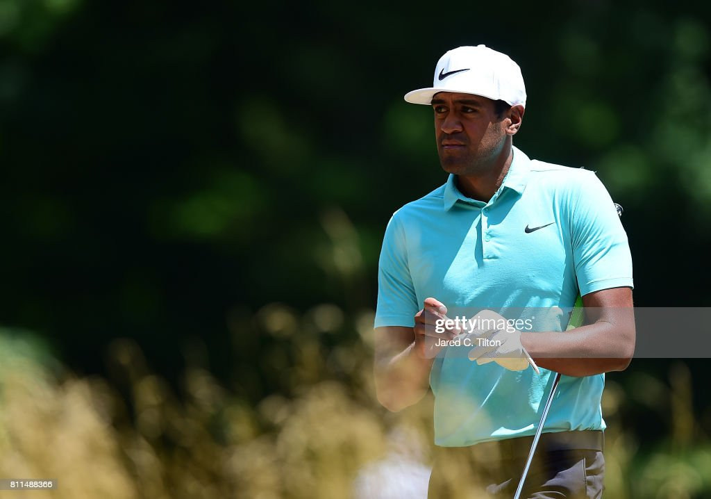 Tony Finau walks to the sixth tee during the final round of The Greenbrier Classic held at the Old White TPC on July 9, 2017 in White Sulphur Springs, West Virginia.