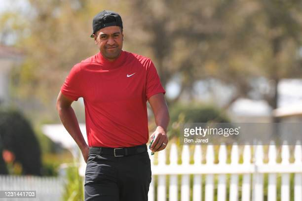 Tony Finau warms up during the final round of the World Golf Championships-Workday Championship at The Concession on February 28, 2021 in Bradenton,...