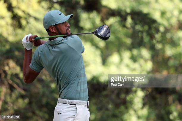 Tony Finau watches his shot from the 16th teeduring the final round of World Golf ChampionshipsMexico Championship at Club De Golf Chapultepec on...