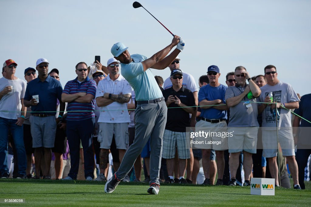 Tony Finau watches his tee shot on the 10th hole during the second round of the Waste Management Phoenix Open at TPC Scottsdale on February 2, 2018 in Scottsdale, Arizona.