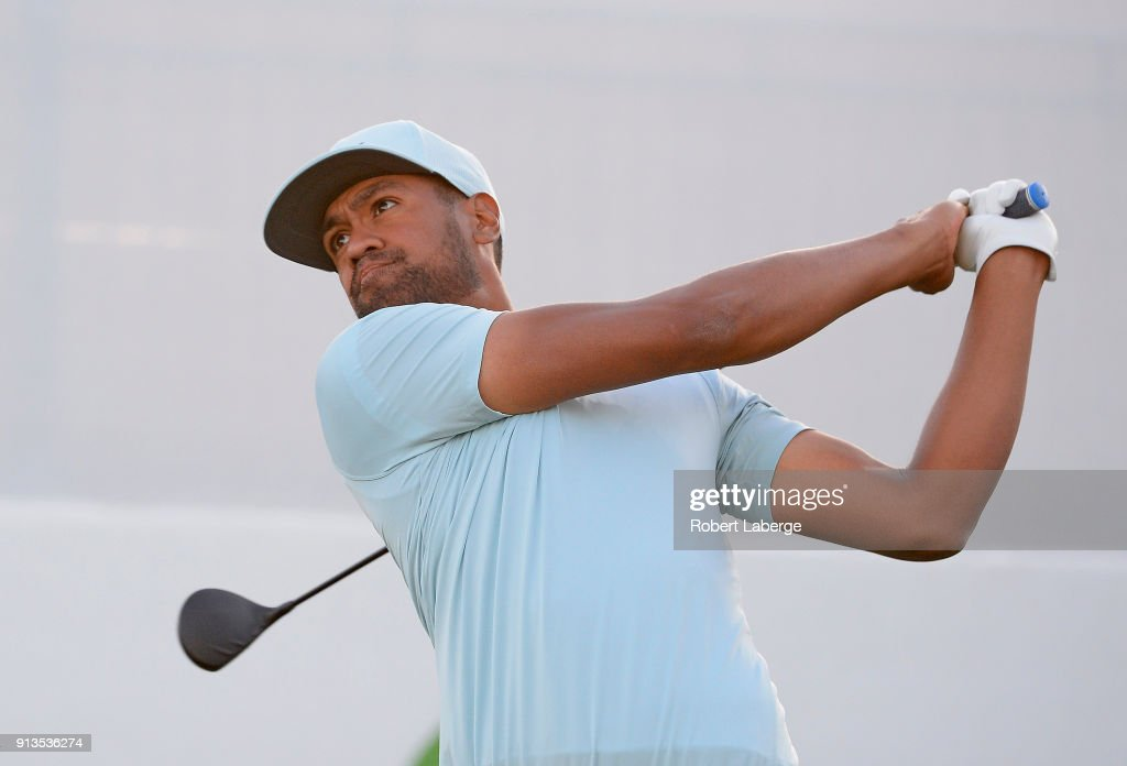 Tony Finau watches his tee shot on the 17th hole during the second round of the Waste Management Phoenix Open at TPC Scottsdale on February 2, 2018 in Scottsdale, Arizona.