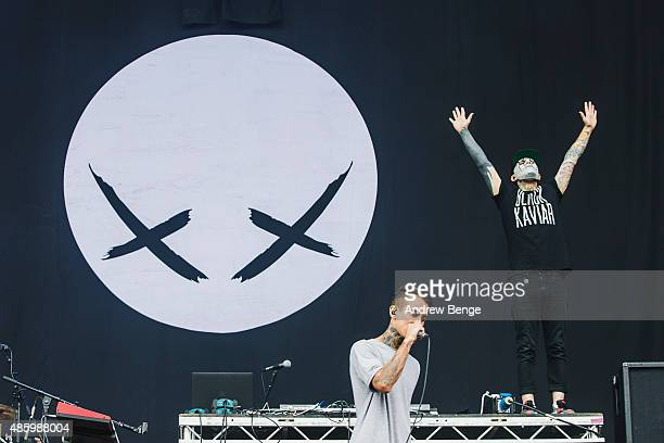 Tony Friend of Modestep performs on the main stage during day 3 of Leeds Festival at Bramham Park on August 30 2015 in Leeds England