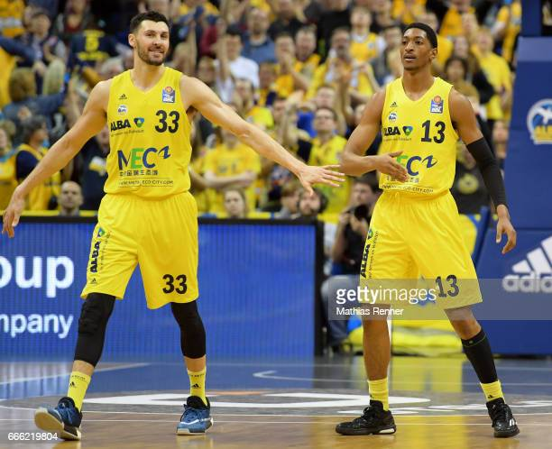 Tony Gaffney and Malcolm Miller of Alba Berlin during the game between Alba Berlin and Walter Tigers Tuebingen on april 8 2017 in Berlin Germany