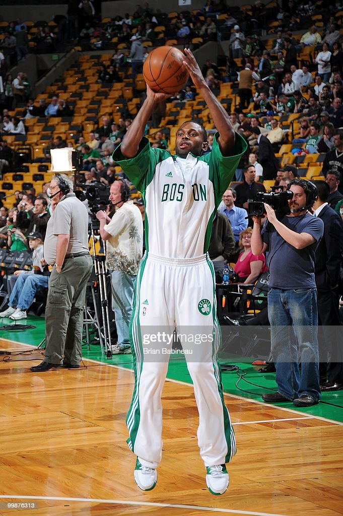 Tony Gaffney #0 of the Boston Celtics warms up before the game against the Milwaukee Bucks on April 14, 2010 at the TD Garden in Boston, Massachusetts. The Bucks won 106-95.
