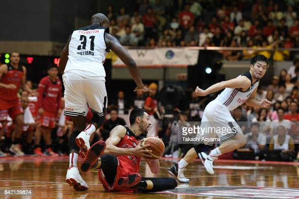 Tony Gaffney of the Chiba Jets looks to pass the ball during the B.League Kanto Early Cup final between Alvark Tokyo and Chiba Jets at Funabashi...