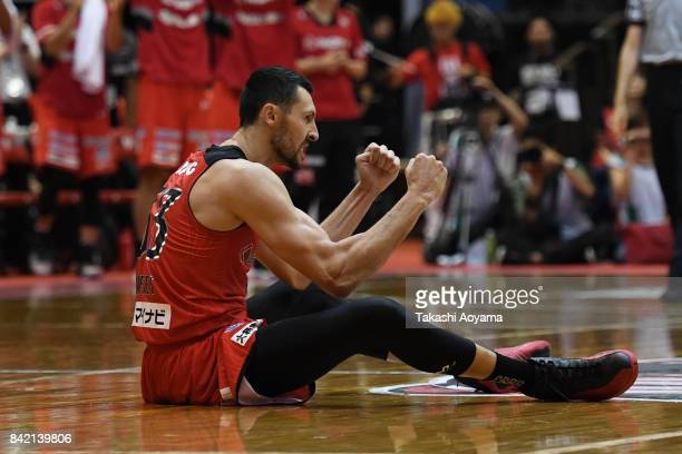 Tony Gaffney of the Chiba Jets reacts during the B.League Kanto Early Cup final between Alvark Tokyo and Chiba Jets at Funabashi Arena on September...