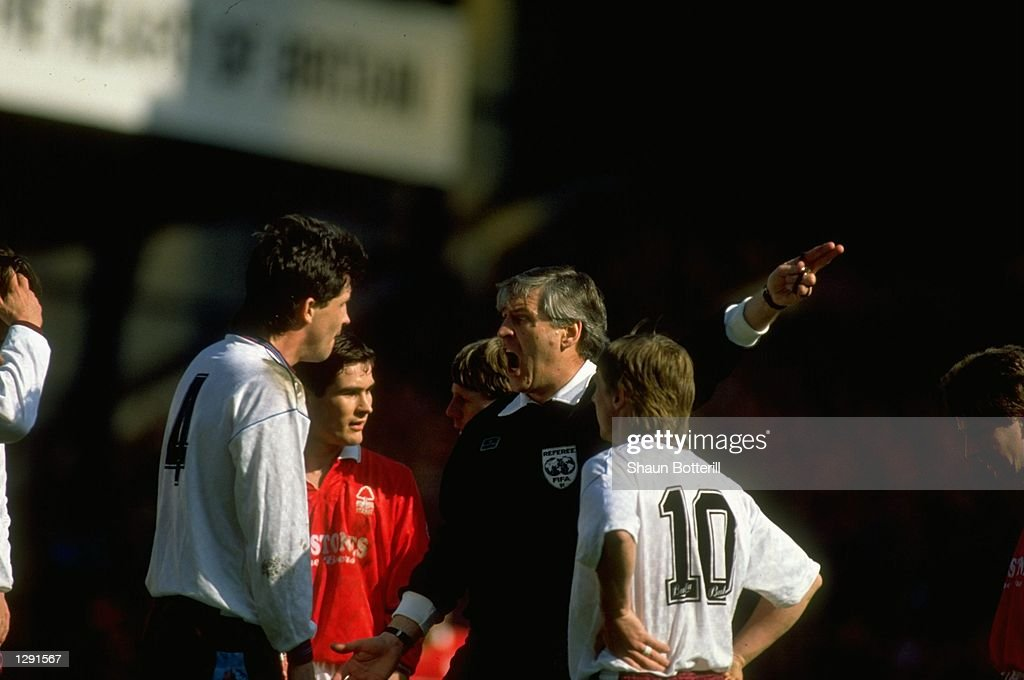 Tony Gale #4 of West Ham is sent off after being shown the red card by referee Keith Hackett during the FA Cup Semi-Final against Nottingham Forest at Villa Park in Birmingham, England. Nottingham Forest won the match 4-0. \ Mandatory Credit: Shaun Botterill/Allsport