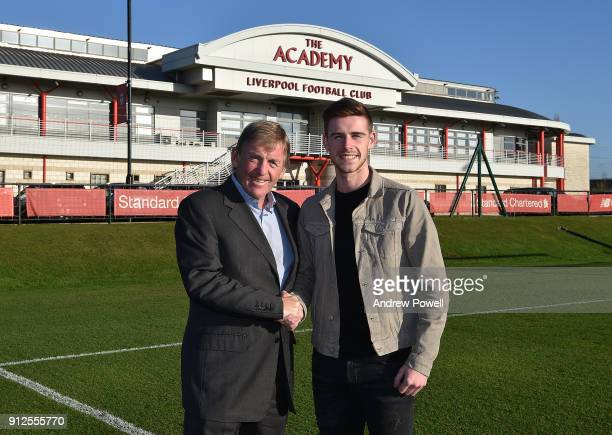 Tony Gallacher new signing of Liverpool with Kenny Dalglish at Liverpool FC Academy on January 30 2018 in Kirkby England
