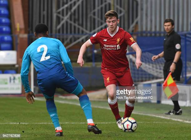 Tony Gallacher of Liverpool and Vontae DaleyCampbell of Arsenal in action during the Liverpool U23 v Arsenal U23 game at Prenton Park on April 6 2018...