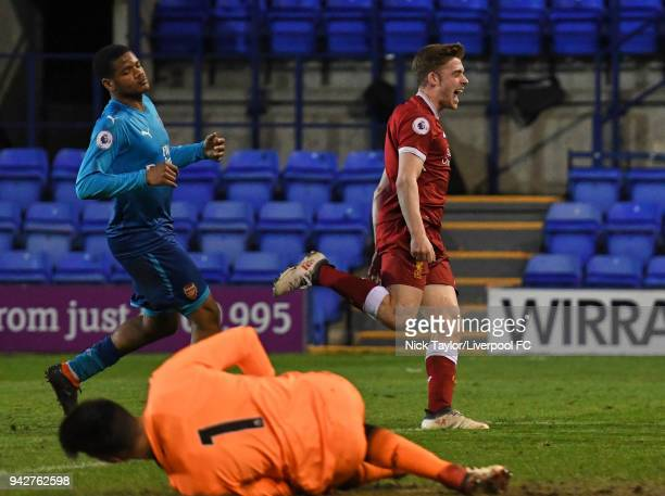 Tony Gallacher of Liverpool celebrates his goal during the Liverpool U23 v Arsenal U23 game at Prenton Park on April 6 2018 in Birkenhead England