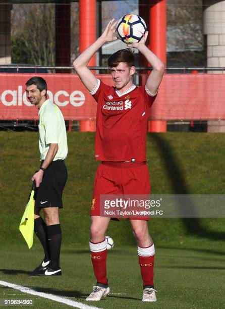 Tony Gallacher of Liverpool in action during the Liverpool v West Ham United PL2 game at The Kirkby Academy on February 17 2018 in Kirkby England