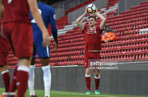 Tony Gallacher of Liverpool takes a throwin during the Liverpool v Chelsea PL2 game at Anfield on May 8 2018 in Liverpool England