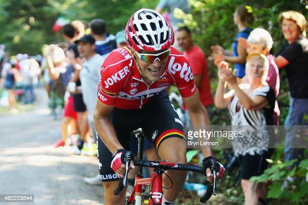 Tony Gallopin of France and Lotto Belisol in action during the eleventh stage of the 2014 Tour de France, a 188km stage between Besancon and Oyonnax,...