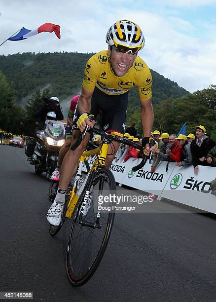 Tony Gallopin of France and Lotto Belisol makes the climb to the finish as he relinquished the overall race leader's yellow jersey to stage winner...