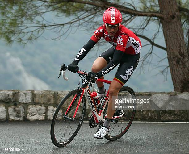 Tony Gallopin of France and Lotto-Soudalin action on stage six of the 2015 Paris-Nice from Vence to Nice on March 14, 2015 in Nice, France.