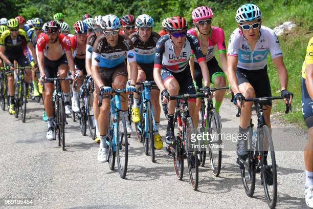Tony Gallopin of France and Team AG2R La Mondiale / Daniel Martin of Ireland and UAE Team Emirates / Pierre Rolland of France and Team EF Education...
