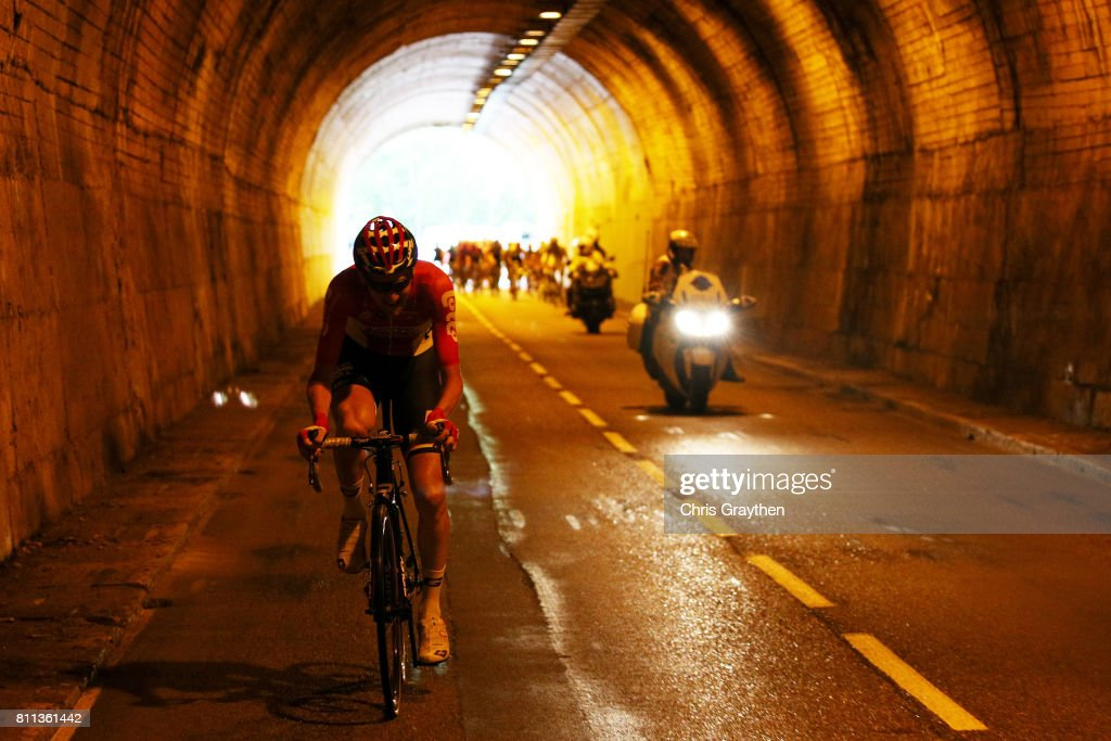 Tony Gallopin of France riding for Lotto Soudal rides througha tunnel during stage 9 of the 2017 Le Tour de France, a 181.5km stage from Nantua to Chambéry on July 9, 2017 in Chambery, France.