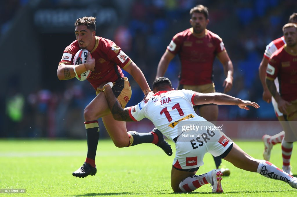 Tony Gigot of Catalans Dragons in action during the Ladbrokes Challenge Cup Semi Final match between St Helens and Catalans Dragons at Macron Stadium on August 5, 2018 in Bolton, England.