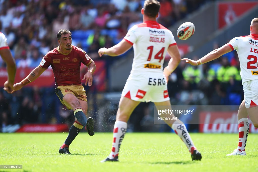 Tony Gigot of Catalans Dragons scores a drop goal during the Ladbrokes Challenge Cup Semi Final match between St Helens and Catalans Dragons at Macron Stadium on August 5, 2018 in Bolton, England.