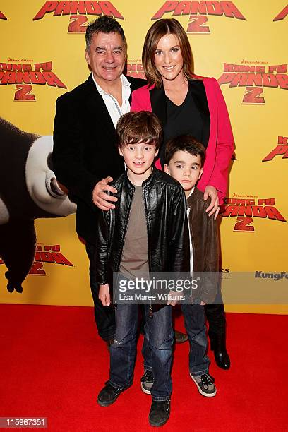 Tony Gillies Kylie Gillies and children Gus and Archie arrive at the Australian premiere of 'Kung Fu Panda 2' at Event Cinema on George Street on...